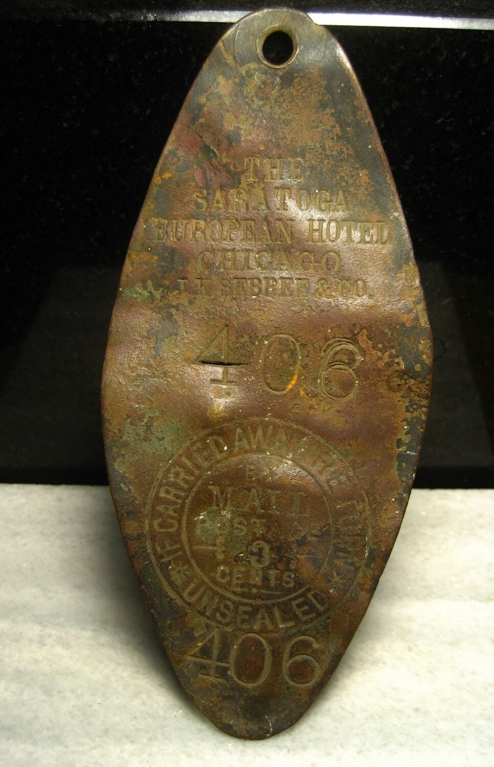 JUST ADDED ON 9/26 - GETTYSBURG - DEVIL'S DEN - ROSENSTEEL FAMILY - Very Cool Early Large Brass Hotel Key Tag - Chicago - Early Tourism