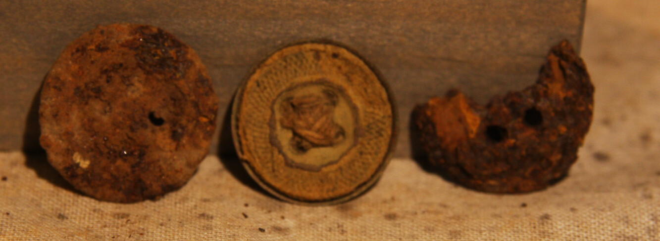 JUST ADDED ON 1/22 - GETTYSBURG - DEVIL'S DEN - ROSENSTEEL FAMILY - Three Trouser Buttons - One is Brass with String or Cloth Attached