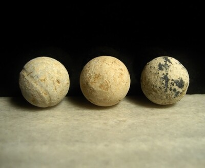 JUST ADDED ON 2/12 - THE BATTLE OF ANTIETAM / MILLER'S CORNFIELD / THE WILSON FARM - Three Relics - .69 Caliber Musket Balls and Large Lead Case Shot Balls from Artillery Shells