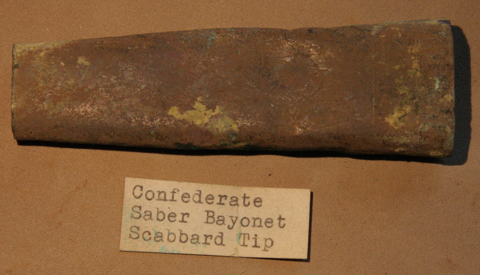 JUST ADDED ON 10/6 - THE BATTLE OF SPOTSYLVANIA - LAUREL HILL - Large Sword Bayonet Scabbard Tip with Leather - with ORIGINAL COLLECTION LABEL plus a copy of the original location label RG-SLH06