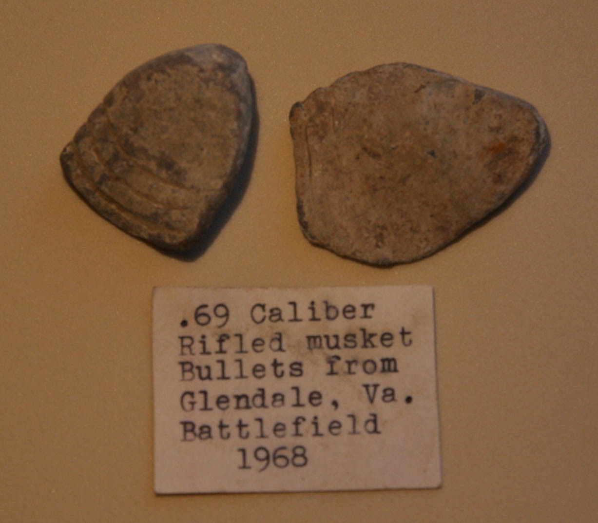 JUST ADDED ON 10/13 - THE BATTLE OF GLENDALE - 2 .69 Caliber Bullets - Found in 1968 - with ORIGINAL COLLECTION LABEL RG-GL01