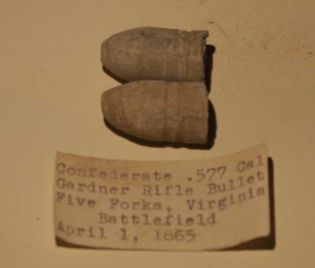 JUST ADDED ON 9/1 - THE BATTLE OF FIVE FORKS - 2 Dropped Confederate Gardner Bullets with Original Collection Typed Label RG-FFK01