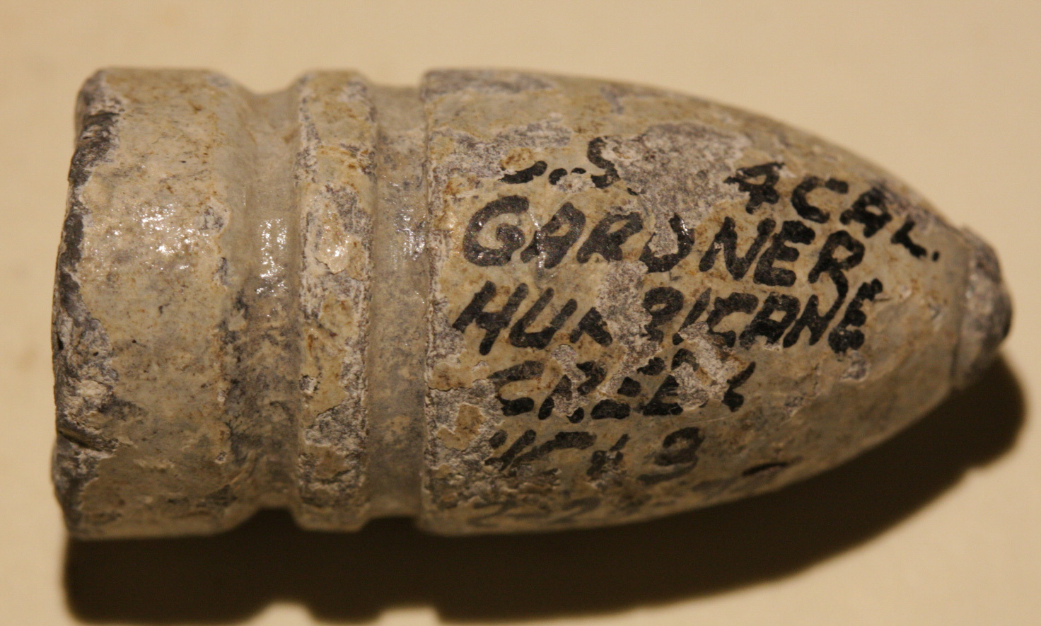 JUST ADDED ON 9/28 - HURRICANE CREEK, MS / JOHN MARKS COLLECTION - Dropped .54 Caliber Confederate Gardner Bullet with Painted ID - Found on February 23, 1974 2 2 032