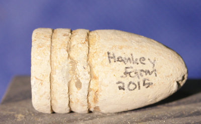 JUST ADDED ON 1/19 - GETTYSBURG / RODES CONFEDERATE DIVISION HOSPITAL / THE HANKEY FARM - .58 Caliber Swage Bullet with Relic Hunter's ID