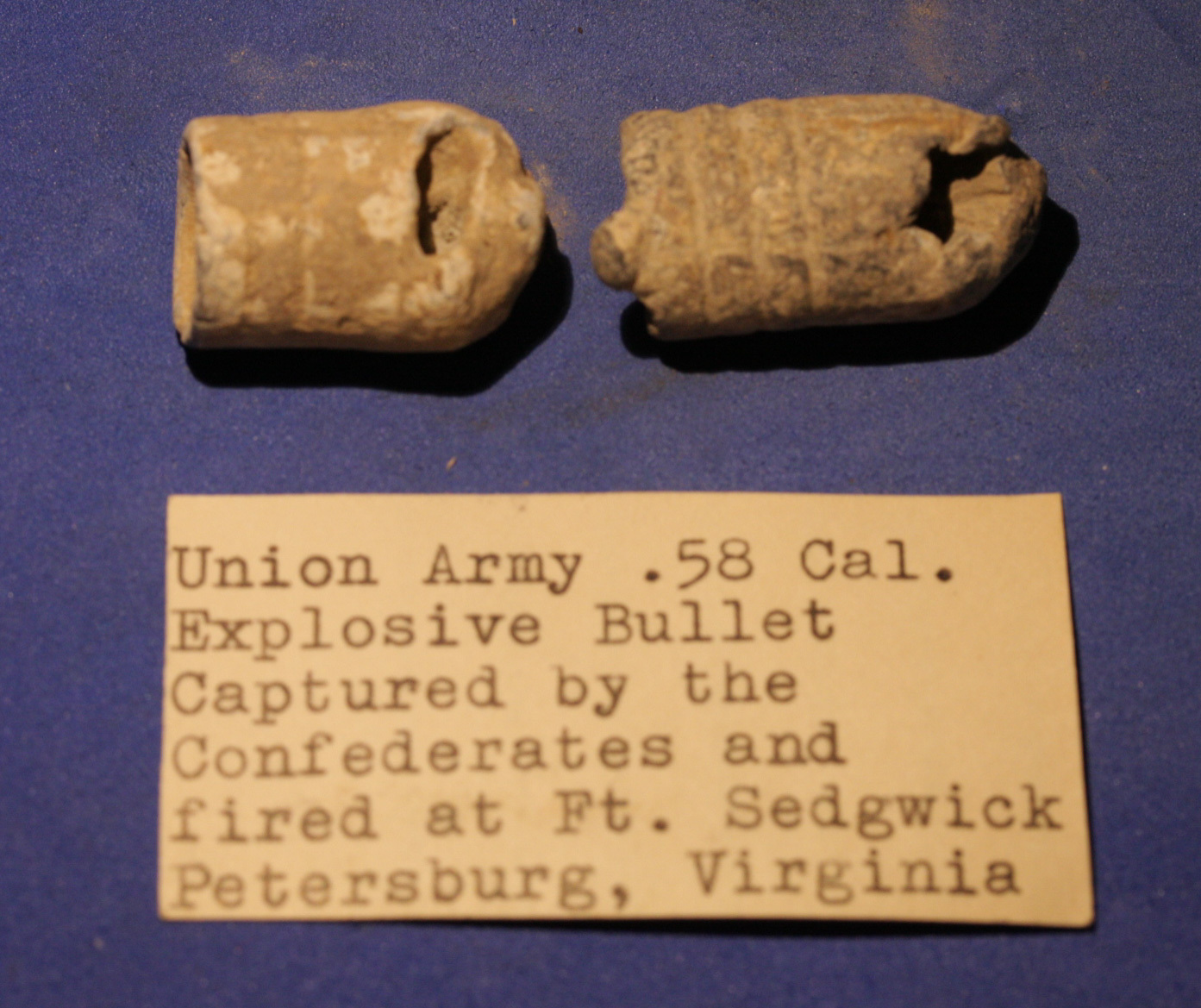 "JUST ADDED ON 2/23 - FORT SEDGWICK - THE SIEGE OF PETERSBURG  - Two ""Blow Through"" Bullets - WITH ORIGINAL COLLECTION LABEL RG-PBSW01"