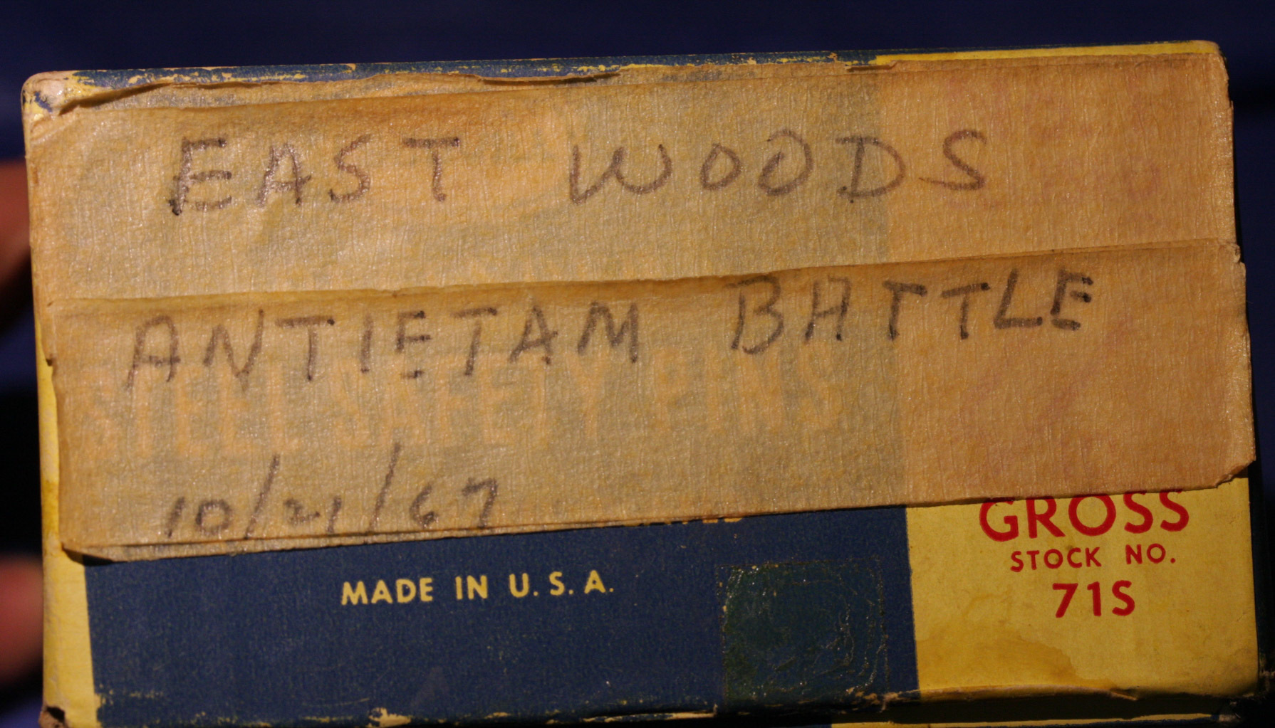 JUST ADDED ON 3/30 - ANTIETAM - THE EAST WOODS  - Pieces from Cartridge Box Tins found on October 21, 1967 - From an Old Relic Hunter's Boxed / Identified Collection