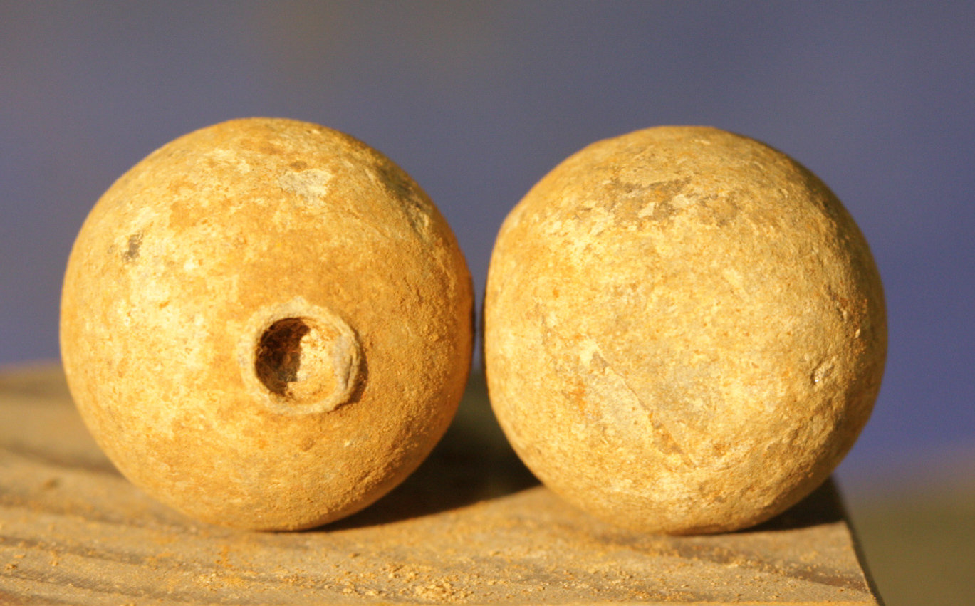 JUST ADDED ON 1/10 - CONFEDERATE CAMP / LEESBURG, VIRGINIA / BATTLE OF BALL'S BLUFF - Two .69 Caliber Round Balls - 1 Misfired/Pulled - from a Relic Hunter's Old Boxed Collection