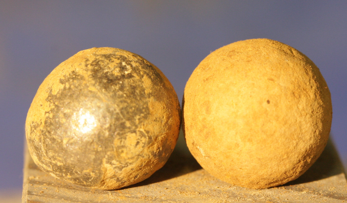 JUST ADDED ON 3/28 - CONFEDERATE CAMP / LEESBURG, VIRGINIA / BATTLE OF BALL'S BLUFF - Two .69 Caliber Round Balls? - from a Relic Hunter's Old Boxed Collection