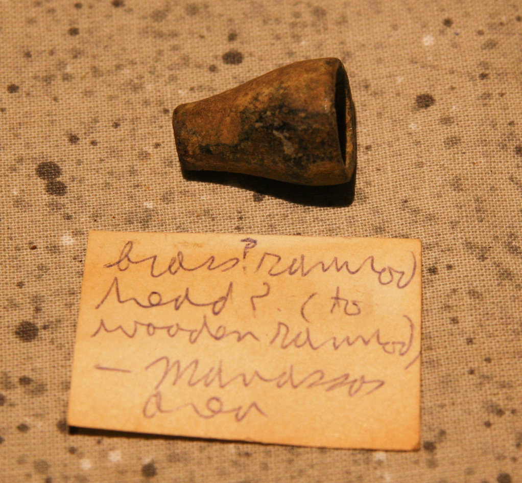 JUST ADDED ON 5/16 - MANASSAS, VIRGINIA - Brass Tip from a Ram Rod with Relic Hunter's Original Label A-HS03