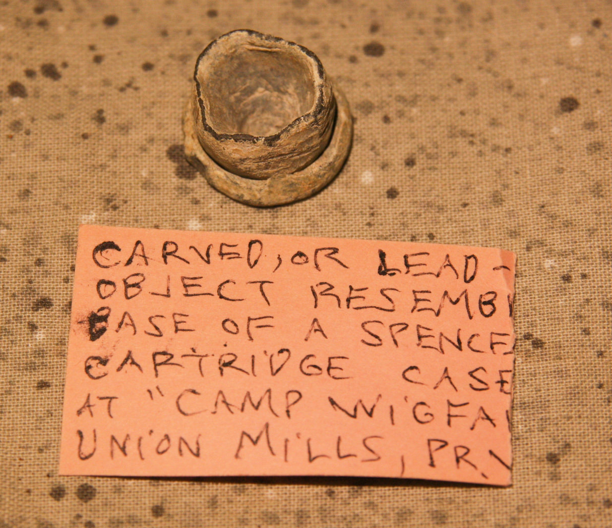 JUST ADDED ON 5/16 - CONFEDERATE CAMP WIGFALL, MANASSAS, VIRGINIA - Unusual Carved Bullet / Lead Item with Relic Hunter's Original Label A-HS05