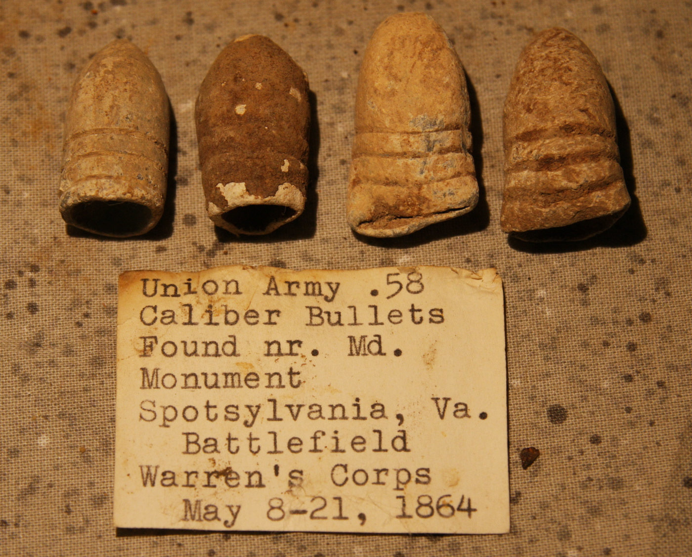 JUST ADDED ON 5/20 - THE BATTLE OF SPOTSYLVANIA / LAUREL HILL/MARYLAND MONUMENT - Four .58 Caliber Bullets Including a Swage & CS  with Original Collector's Typed Label RG-SP300
