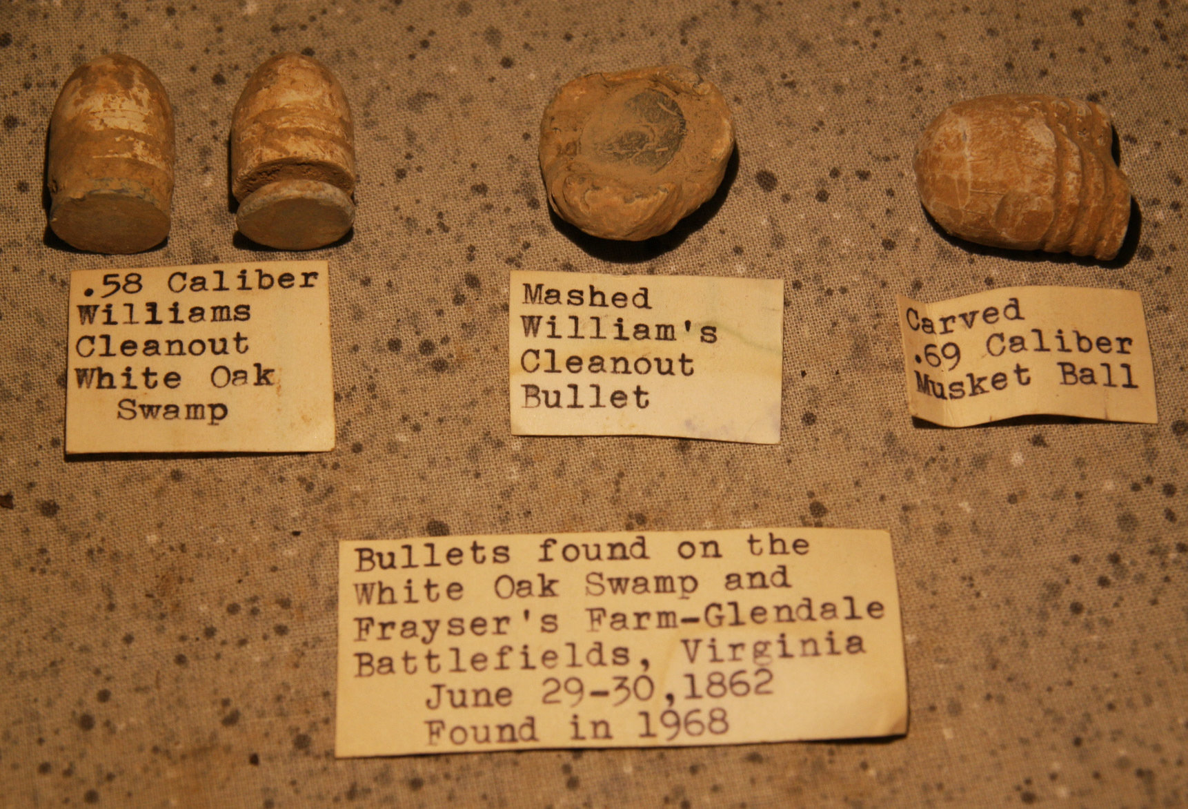JUST ADDED ON 6/6 - THE BATTLE OF GLENDALE / WHITE OAK SWAMP - Bullets with Original Collection Labels RG-GWS01