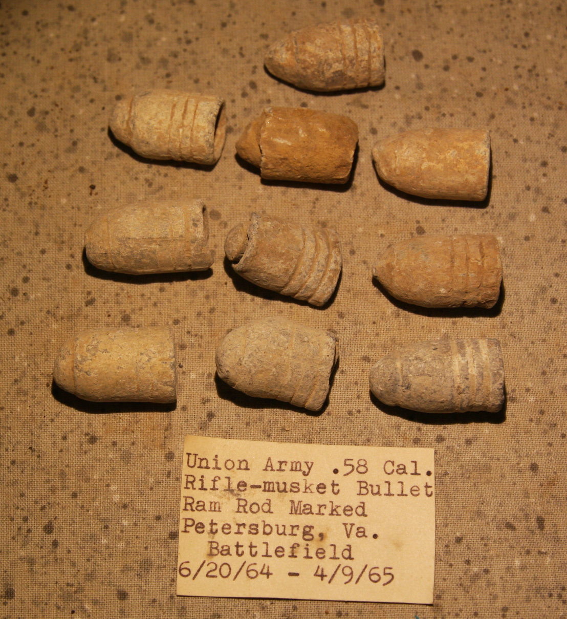 CLEARANCE - REDUCED 40% - THE SIEGE OF PETERSBURG - 10 Bullets with Ram Rod Marks - with Original Collection Label RG-PBG07a