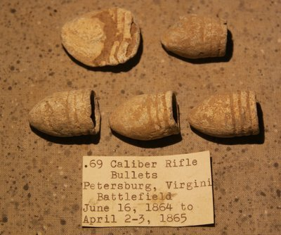 JUST ADDED ON 6/28 - THE SIEGE OF PETERSBURG - 5 .69 Caliber Bullets - with Original Collection Label