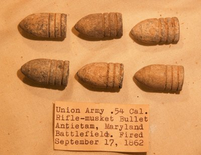 JUST ADDED ON 8/13 - THE BATTLE OF ANTIETAM - 6 .58 Caliber Bullets - Confederate - with Original Collection Label