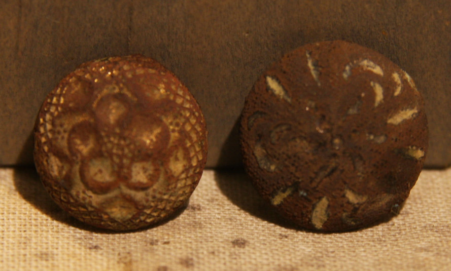 CLEARANCE - REDUCED 35% - THE SIEGE OF PETERSBURG - Two Flower Cuff Buttons (Probably Confederate)