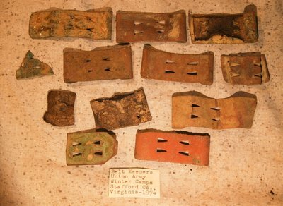 CLEARANCE - REDUCED 35% - UNION 1862/1863 WINTER CAMPS / STAFFORD, VA. - Belt Keeper and Belt Leather Group with Original Label