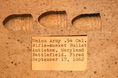 JUST ADDED ON 12/3 - THE BATTLE OF ANTIETAM - Three .54 Caliber Bullets including One Confederate with Original Collection Label