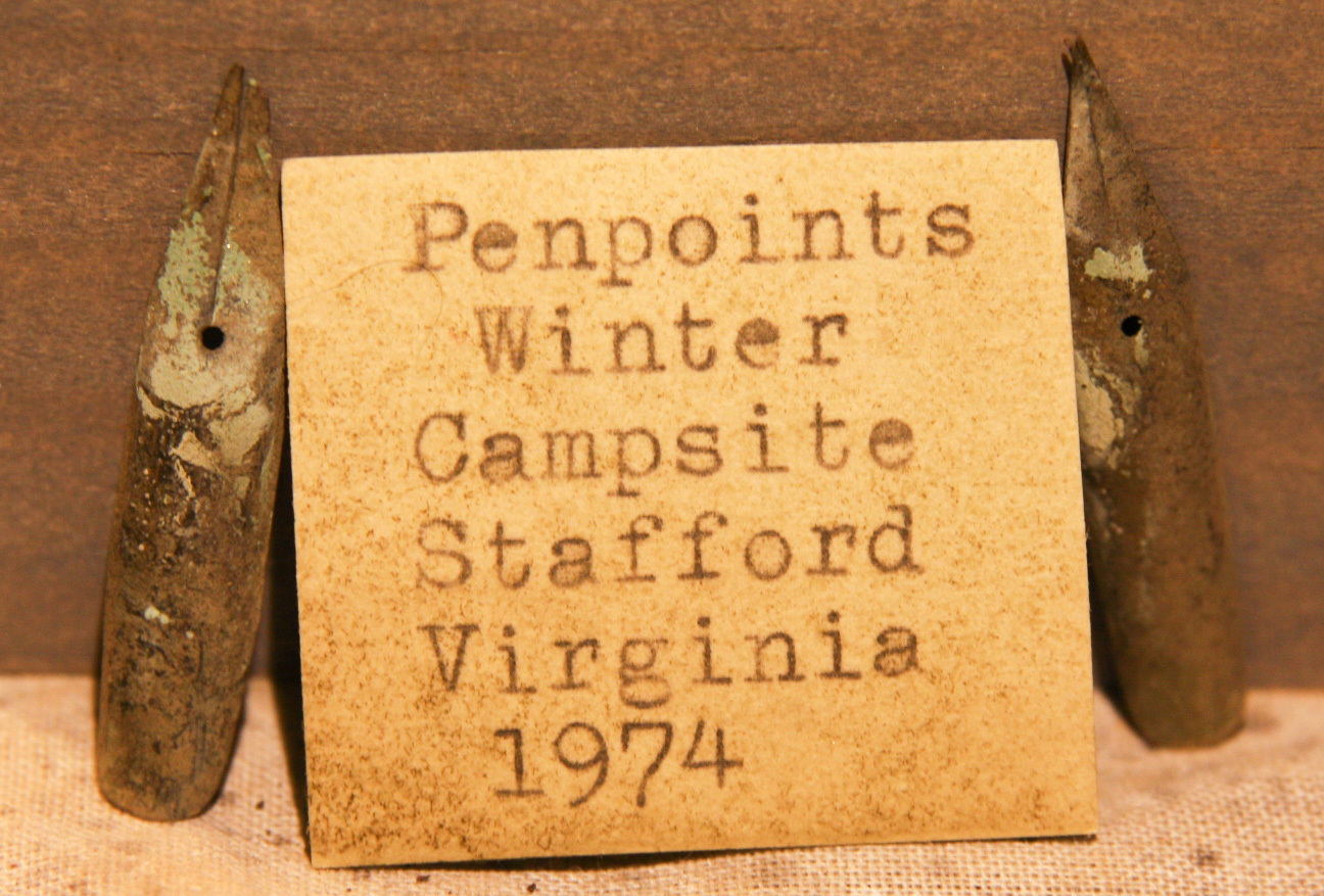 JUST ADDED ON 1/9 - STAFFORD, VIRGINIA UNION WINTER CAMP - Two Civil War Pen Tips with Original Label