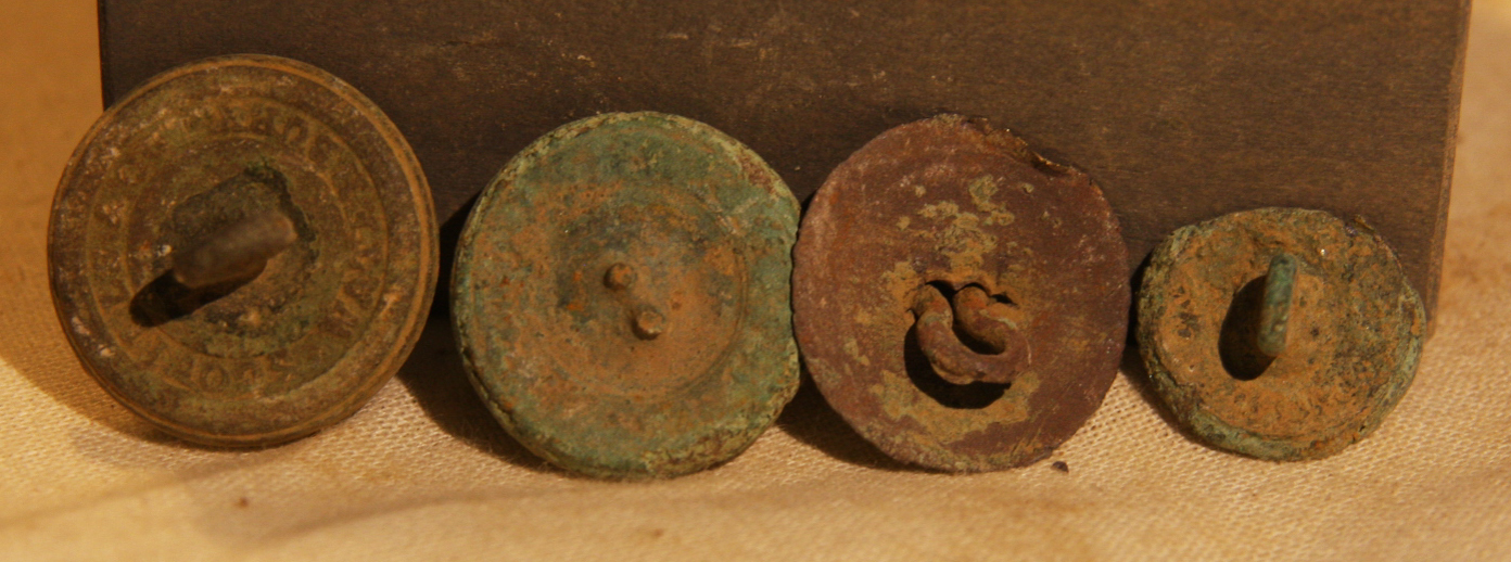JUST ADDED ON 1/22 - THE BATTLE OF ANTIETAM / MILLER'S CORNFIELD - 4 Uniform Button Backs - Found between 1975 and 1979