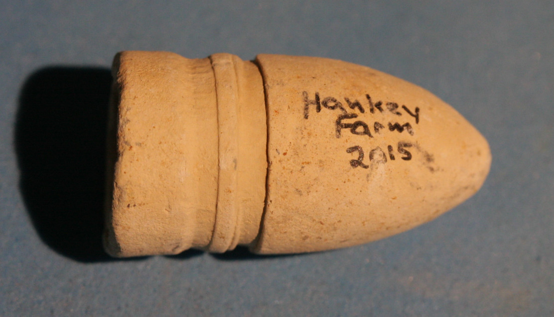 JUST ADDED ON 5/11 - GETTYSBURG / RODES CONFEDERATE DIVISION HOSPITAL / THE HANKEY FARM - Dropped Confederate Gardner Bullet with Relic Hunter's ID