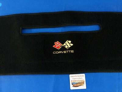 DASH COVER MAT DASHBOARD PAD WITH CORVETTE LOGO 78-82 / BLACK (LEE M78-82) 4C6