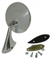 MIRROR-EXTERIOR REAR VIEW-WITH BOW-TIE LOGO-RIGHT-WITH MOUNTING KIT-63L-67 (#E11550)