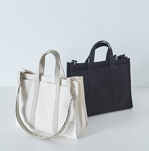 Multi-compartment Canvas Cotton Tote Shoulder Bag