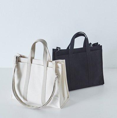 Multi-compartment Canvas Cotton Tote Shoulder Bag