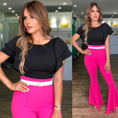 Fuchsia Highwaist Bell Bottom Pants