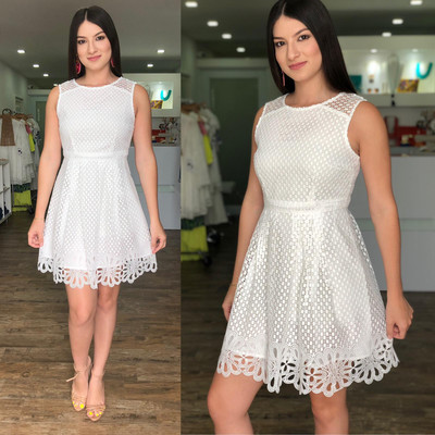 White Fit & Flared Lace Dress