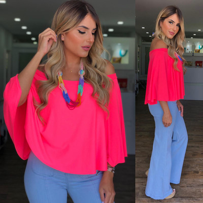 Neon Pink Off Shoulders Blouse By Pía