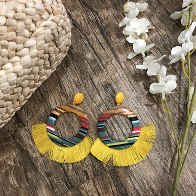 Colorful yellow tassel earrings