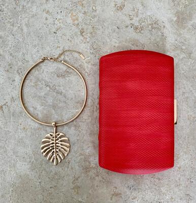 Gold Leaf Necklace & Earrings Set