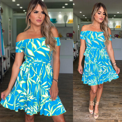 Aqua Leaves Off Shoulders Dress By Pía