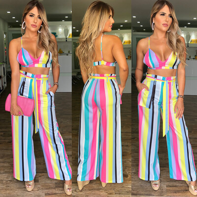 Candy Stripes Crop Top & Palazzo Set