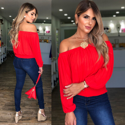 Red Pleated Off Shoulders Blouse