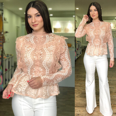 Blush Lace Peplum Blouse