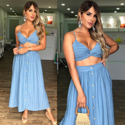 Dusty Blue Top & Skirt Set