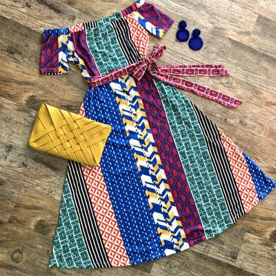 Multi Patterns Off Shoulders Dress