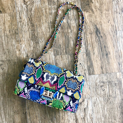 Multi Colors Snakeskin Purse