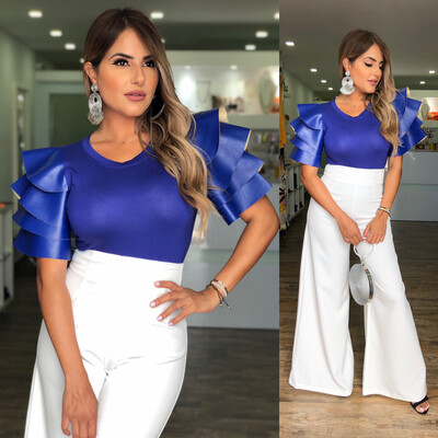 Blue Leather Sleeves Blouse