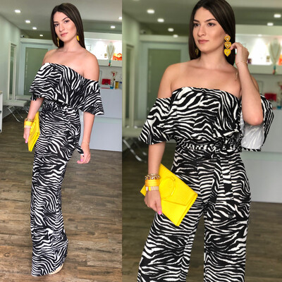 Black & White  Off Shoulders Jumpsuit