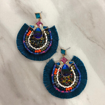 Teal Bejeweled Earrings