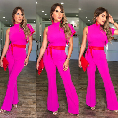 Pink Red Ruffle Jumpsuit