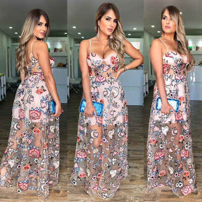 Embroidery Sheer Maxi Dress