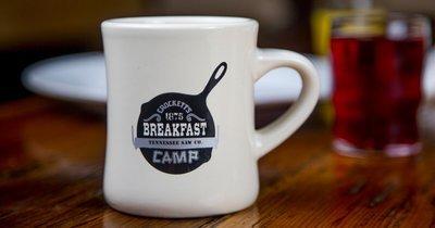 Crockett's Breakfast Camp Skillet Logo Mug