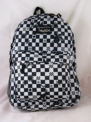 Black Backpack Checkered School Pack Bag TB205