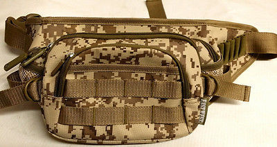 Fanny Pack Tactical Large Hip Belt Bum Bag Pouch - Tan Digital