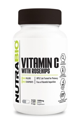 NutraBio Vitamin C 1000mg with Rose Hips